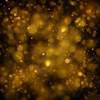 Textuur achtergrond zwart goud glitter voor kerstmis sprankelende magische stofdeeltjes bokeh effect