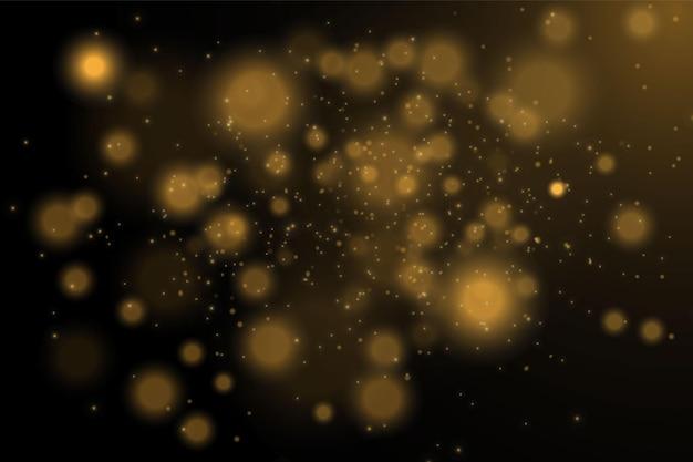 Textuur glitter en elegant voor kerstmis. sprankelende magische goudgele stofdeeltjes. magisch gouden concept. abstracte zwarte achtergrond met bokeh-effect. vector