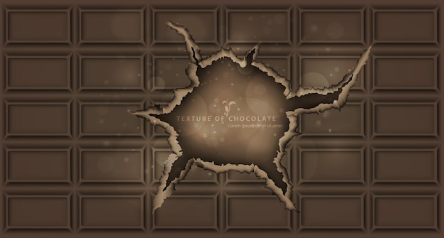 Textuur van witte, melk en donkere chocoladereep met gebroken uiteinden