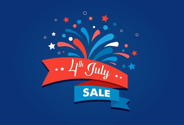 Th van juli amerikaanse onafhankelijkheidsdag viering achtergrond met vuurwerk banners linten en kleur