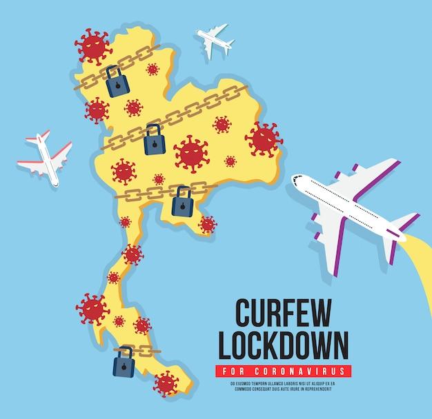 Thailand avondklok voor coronavirus. covid-19-pictogram vergrendelen. sluit de stad af om verspreiding van het coronavirus te voorkomen.