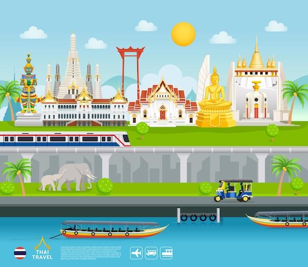 Thailand beroemde bezienswaardigheden reizen banner mooie plaatsen vlakke stijl achtergrond