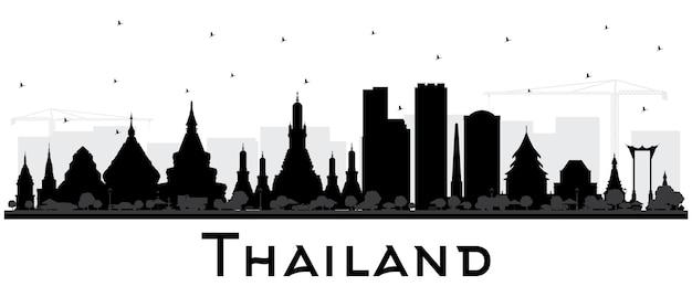 Thailand city skyline van silhouet met zwarte gebouwen geïsoleerd op wit. vectorillustratie. toerismeconcept met historische architectuur. thailand stadsgezicht met monumenten.
