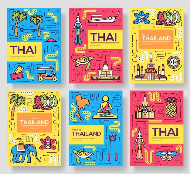Thailand dunne lijn brochurekaarten set