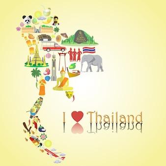 Thailand kaart. coloricons en symbolen instellen in de vorm van een kaart