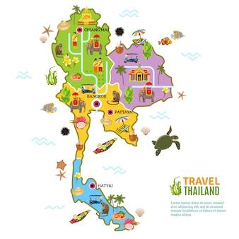 Thailand kaart poster Gratis Vector