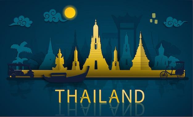 Thailand reizen naar beroemde bezienswaardigheden en toeristische attractie van thailand met papier gesneden stijl