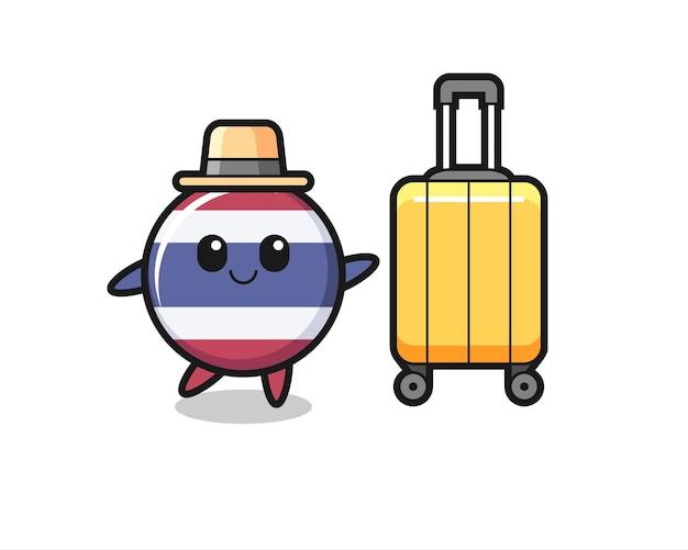 Thailand vlag badge cartoon afbeelding met bagage op vakantie, schattig stijl ontwerp voor t-shirt, sticker, logo element