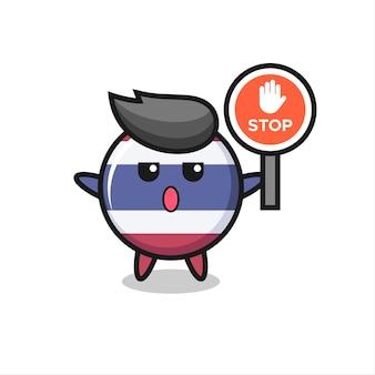 Thailand vlag badge karakter illustratie met een stopbord, schattig stijlontwerp voor t-shirt, sticker, logo-element