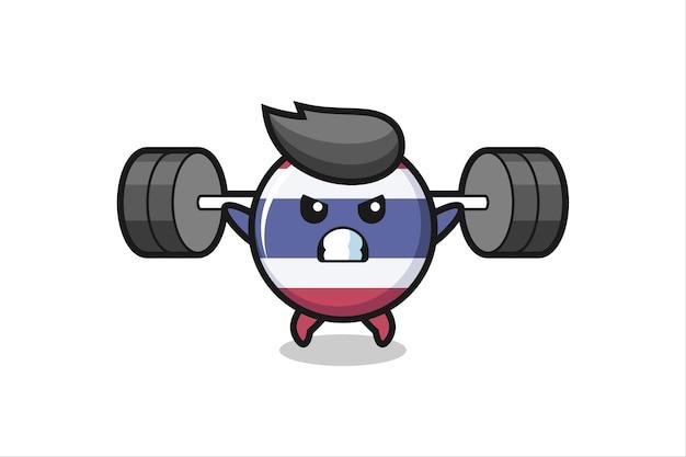 Thailand vlag badge mascotte cartoon met een barbell, schattig stijlontwerp voor t-shirt, sticker, logo-element