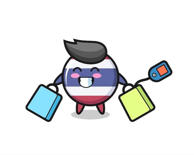 Thailand vlag badge mascotte cartoon met een boodschappentas, schattig stijlontwerp voor t-shirt, sticker, logo-element