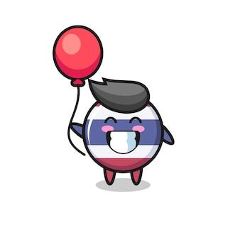Thailand vlag badge mascotte illustratie speelt ballon, schattig stijl ontwerp voor t-shirt, sticker, logo element