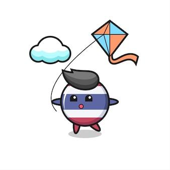 Thailand vlag badge mascotte illustratie speelt vlieger, schattig stijl ontwerp voor t-shirt, sticker, logo-element