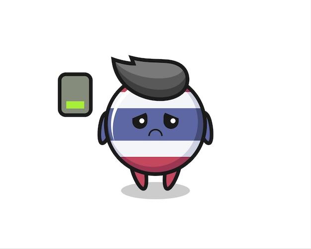 Thailand vlag badge mascotte karakter doet een vermoeid gebaar, schattig stijlontwerp voor t-shirt, sticker, logo-element
