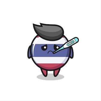 Thailand vlag badge mascotte karakter met koorts voorwaarde, schattig stijl ontwerp voor t-shirt, sticker, logo-element