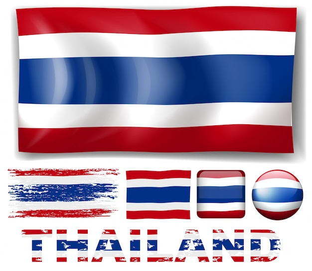 Thailand vlag in verschillende ontwerpen illustratie