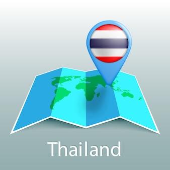Thailand vlag wereldkaart in pin met naam van land op grijze achtergrond