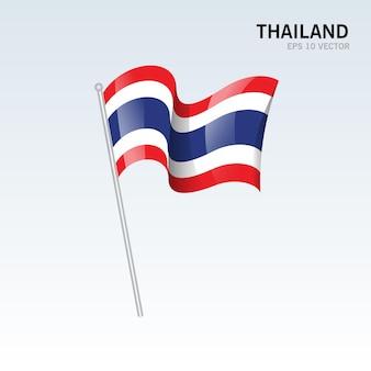 Thailand wapperende vlag geïsoleerd op grey
