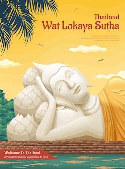 Thailand wat lokaya sutha landmark illustratie, reisconcept poster
