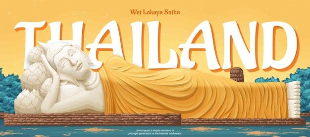 Thailand wat lokaya sutha landmark illustratie, reisconcept