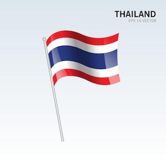 Thailand zwaaien vlag geïsoleerd op een grijze achtergrond