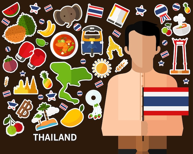 Thailands-conceptenachtergrond vlakke pictogrammen