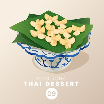 Thais dessert in traditionele thaise keramische ware: illustratie
