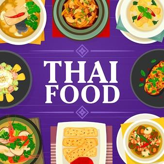 Thais eten tom yum soep, visgember soep en cashew kip gai pad med mamuang