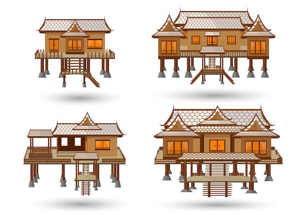 Thais huismodel dat van vector wordt gemaakt
