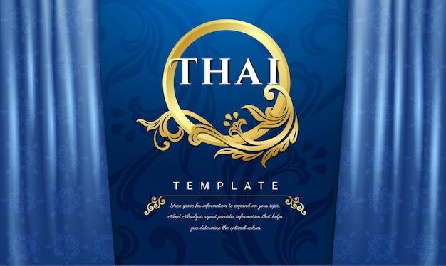 Thais traditioneel concept, blauwe gordijnenachtergrond.
