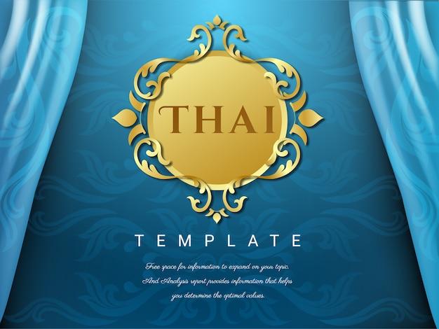 Thaise achtergrond blauwe kleur met bloemembleem.