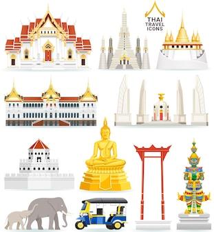 Thaise beroemde bezienswaardigheid pictogrammen