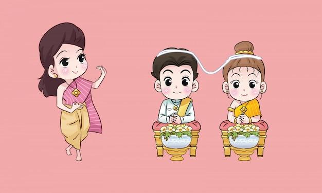 Thaise dame en bruiloft thaise cartoon