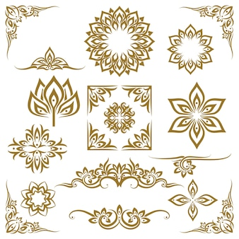 Thaise etnische decoratieve elementen vector. element etnisch, decoratief ornament, etnische thaise illustratie