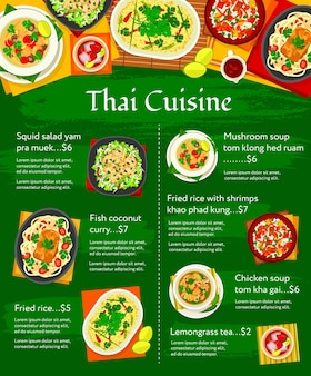Thaise keuken vector menusjabloon. thaise maaltijden