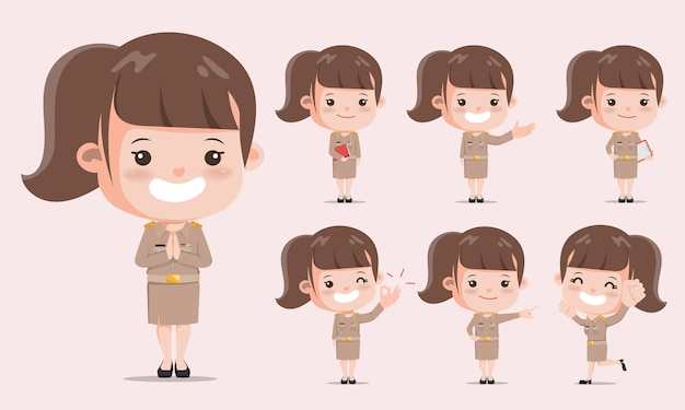 Thaise leraar in uniforme pose. jonge overheid met jobkarakter.