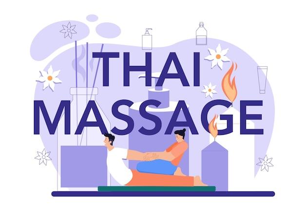 Thaise massage typografische header spa-procedure in schoonheidssalon