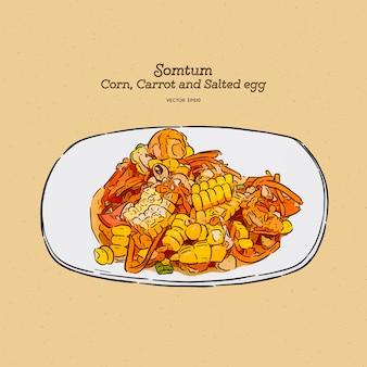 Thaise pittige salade gemaakt door wortel, maïs bonen en gezouten ei, hand tekenen schets