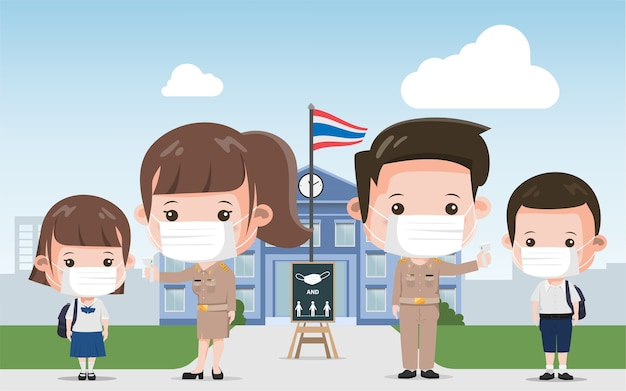 Thaise schoolleraar en studentenpreventie covid-19. siam bangkok school thailand veilig voor covid-19.
