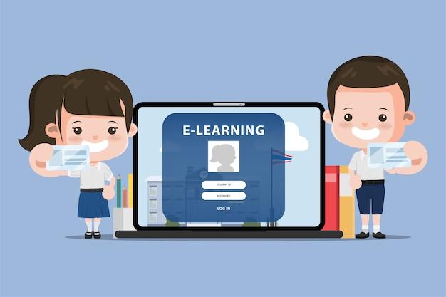 Thaise student die e-learning online onderwijsschool voorstelt. bangkok thailand middelbare school animatie ontwerp.