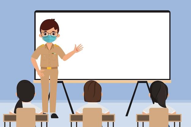 Thaise student en leraar terug naar school met nieuw normaal concept