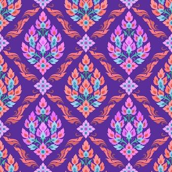 Thaise traditiekunst in purper kleuren naadloos patroon.