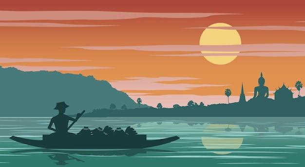 Thaise vrouw koopvaardij roeiboot om naar de tempel te gaan op zonsondergang tijd, vectorillustratie