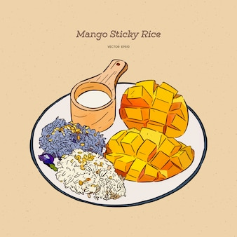 Thaise zoete kleefrijst met mango, hand tekenen schets.