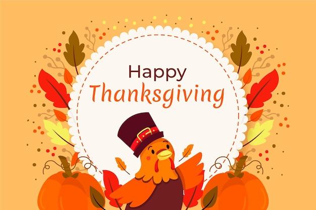 Thanksgiving achtergrond hand getekend turkije