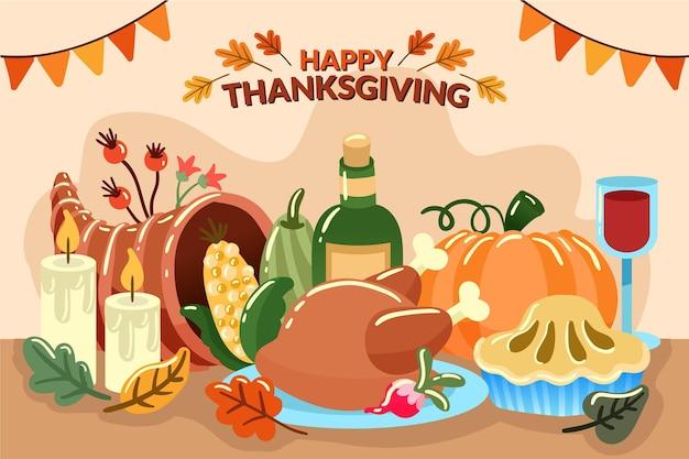Thanksgiving achtergrond hand getrokken stijl