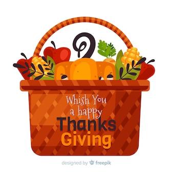 Thanksgiving achtergrond in plat ontwerp
