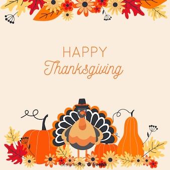 Thanksgiving achtergrond in platte desgin