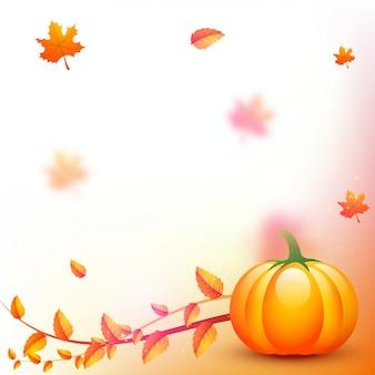 Thanksgiving achtergrond met pompoen en herfstbladeren.