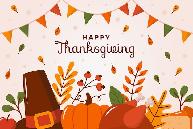 Thanksgiving achtergrond plat ontwerp